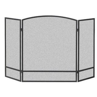 Panacea 15951 Powder-Coated Steel 3-Panel Fireplace Screen w/Double Bar, Black