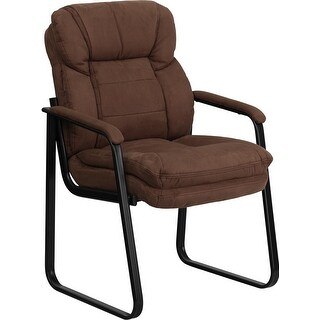 Aberdeen Brown Microfiber Executive Side Reception/Guest Chair w/Sled Base