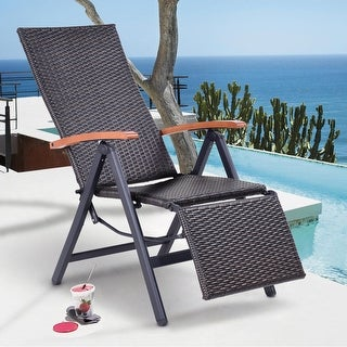 Costway Patio Folding Chair Lounger Recliner Chair Rattan Aluminum Garden Recliner Chair - Brown