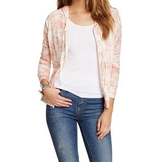 Soprano NEW Pink Ivory Small S Junior Hood Floral Full Zip Sweater