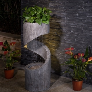 Link to Glitzhome Polyresin Curving Outdoor LED Fountain Similar Items in Outdoor Decor