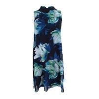 Vince Camuto Women's Floral-Print Chiffon Shift Dress - Green Multi