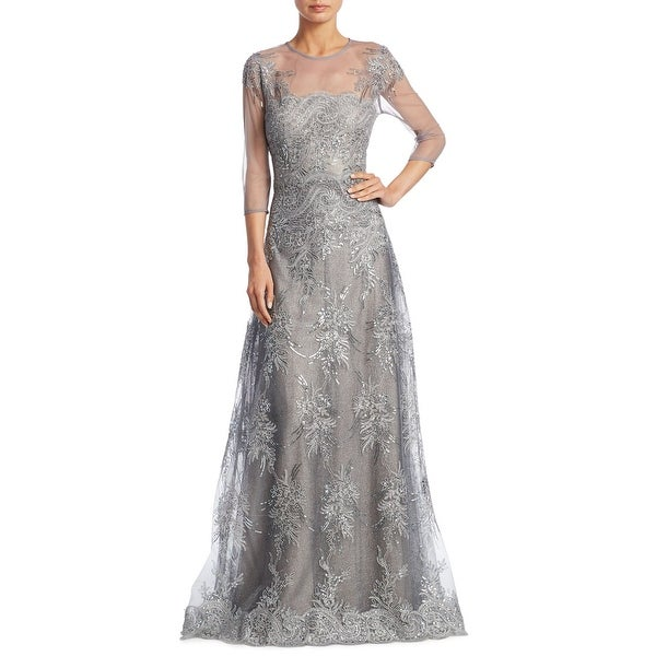 Teri Jon Embellished Lace Illusion 3/4 Sleeve Evening Gown Dress Silver