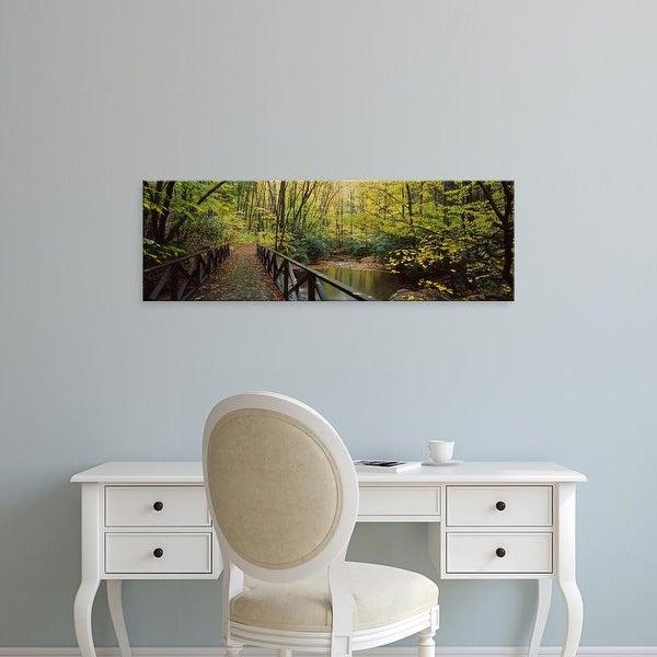 Easy Art Prints Panoramic Images's 'Footbridge Over Pond, Cucumber Run, Ohiopyle State Park, Pennsylvania' Canvas Art