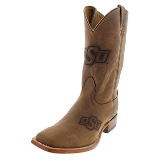 Nocona Boots Mens Oklahoma State Leather Embossed Cowboy, Western Boots - 9 extra wide (ee)