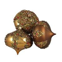 Brown Glitter Sequin Beaded Shatterproof Christmas Onion Ornaments