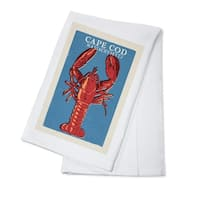 Cape Cod, MA - Lobster Woodblock - LP Artwork (100% Cotton Towel Absorbent)