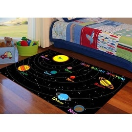 Solar System 4x6 5x7 7x10 8x10 Feet Playtime Kids Area Rug Boys Girls Carpet Washabale Rubber Back