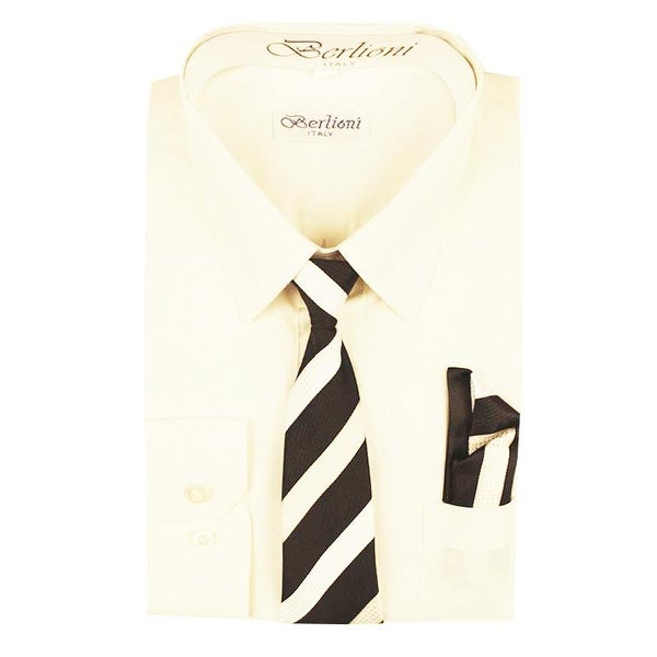 b98c8f76cdb Shop Berlioni Boys Off-White Striped Necktie Hanky 3 Pc Dress Shirt Set -  Free Shipping On Orders Over  45 - Overstock - 27212052