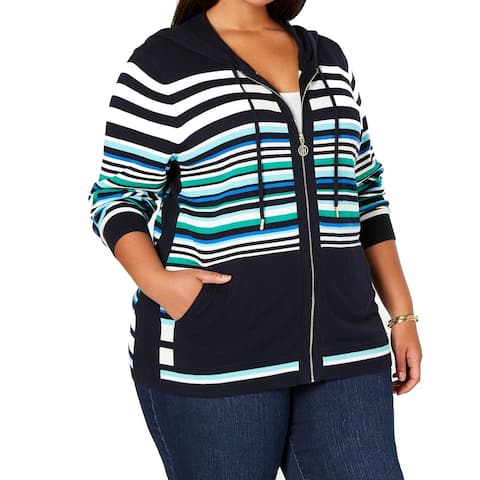 Tommy Hilfiger Womens Sweater Plus Full Zip Striped Hooded