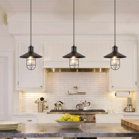 """Farmhouse Transitional 1-light Black Cage Ceiling Pendants for Kitchen Island Dining Room - L10.2""""xW10.2""""xH10.2"""""""