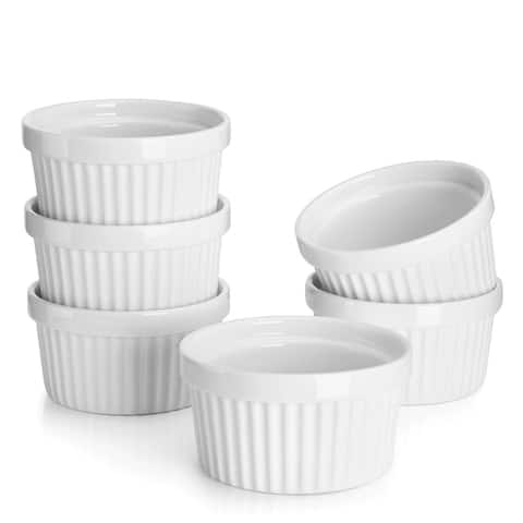 Sweese Porcelain Souffle Dishes - 8 Ounce - Set of 6, White