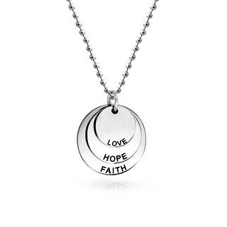 Bling Jewelry Faith Hope Love Faith Stainless Steel Disc Pendant Necklace