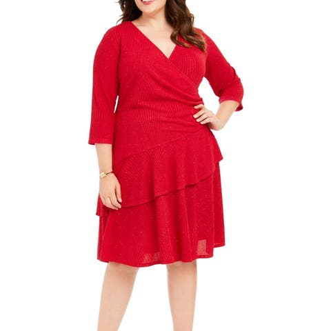 Signature by Robbie Bee Women's Dress Red Size 1X Plus A-Line Glitter