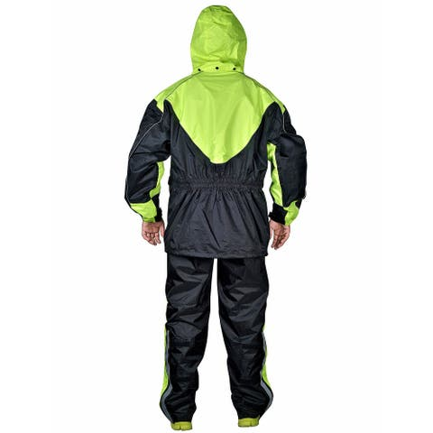 Motorcycle Rain Gear Two Piece Motorcycle Rain Suit Yellow Black RN3 - Yellow/Black