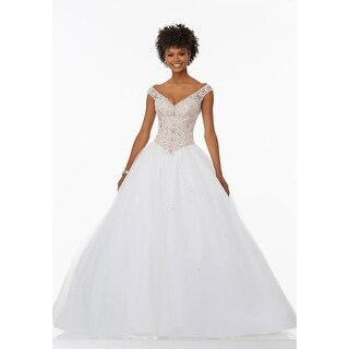 Embellished V-Neck Tulle Ball Gown