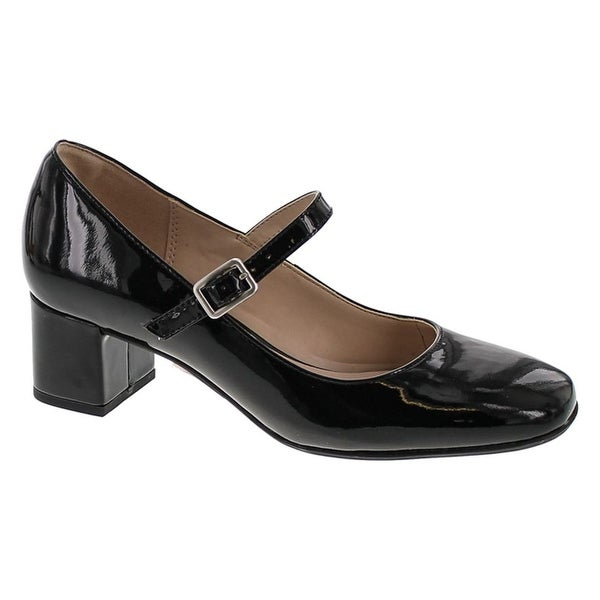 Clarks Womens Chinaberry Pop Pumps Shoes - Black Patent