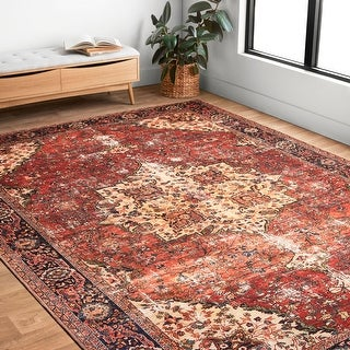 Link to Alexander Home Tremezzina Printed Distressed Medallion Area Rug Similar Items in Rugs