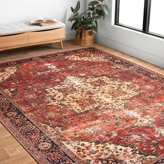 Link to Alexander Home Tremezzina Printed Distressed Medallion Area Rug Similar Items in Transitional Rugs