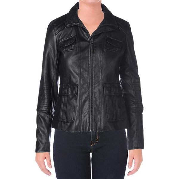 Lucky Brand Womens Motorcycle Jacket Faux Leather Center Zip