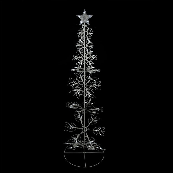 6' Cool White LED Lighted Outdoor Meteor Effect Snowflake Hoop Christmas Tree Outdoor Decoration
