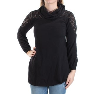 STYLE & COMPANY Womens Black Lace Long Sleeve Cowl Neck Sweater Petites Size: XS