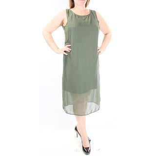 Womens Green Sleeveless Below The Knee Shift Dress Size: L