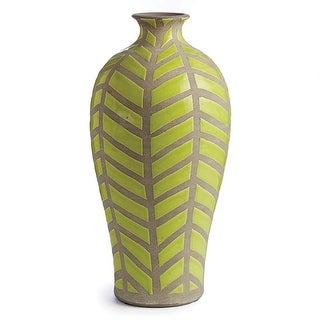 """17"""" Light Green and Gray Handcrafted Decorative Ceramic Vase"""
