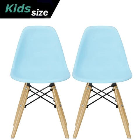 2xhome Set of Two Kids ChairSide No arm ArmlessNatural Wood Legs Eiffel For Kitchen Desk Work Bedroom Playroom Preschool