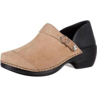 4EurSole Work Shoes Womens Nubuck Leather Clog Taupe RKYH043
