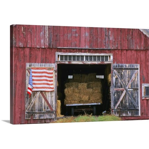 """""""American flag hanging from a barn door"""" Canvas Wall Art"""