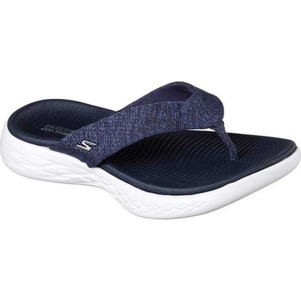 cf16635a2ef8 Skechers Women  x27 s On the GO 600 Preferred Thong Sandal Navy White