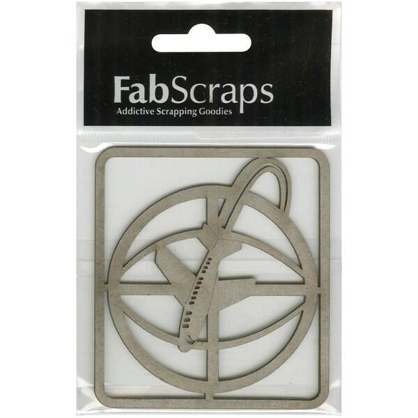 "FabScraps Love To Travel Die-Cut Gray Chipboard Shape-Globe W/Plane, 3""X2.75"" Frame"