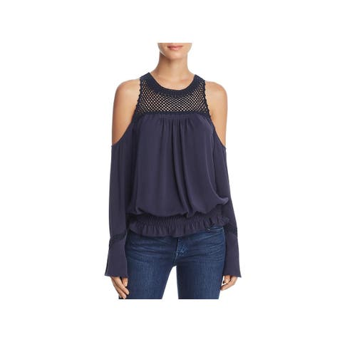 Ramy Brook Womens Ella Blouse Pleated Cold Shoulder