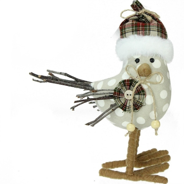 "9"" Brown and White Polka Dot Standing Bird Christmas Decoration"