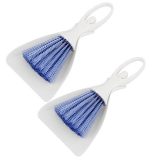 Unique Bargains 2 Set Desktop Keyboard Fan Blade Dust Dirt Cleaning Brush Dustpan Blue White Kit