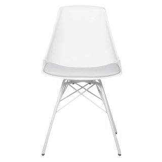 (Set of 4) Angel Mid century Modern Leatherette Eiffel Chair Contract Grade (White)