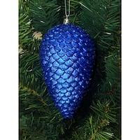 "6ct Lavish Blue Shatterproof Glitter Pine Cone Christmas Ornaments 6.5"""