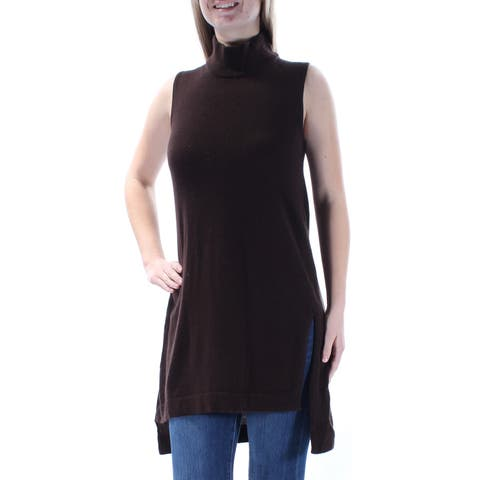 ALFANI Womens Brown Slitted Sleeveless Turtle Neck Hi-Lo Sweater Size: M