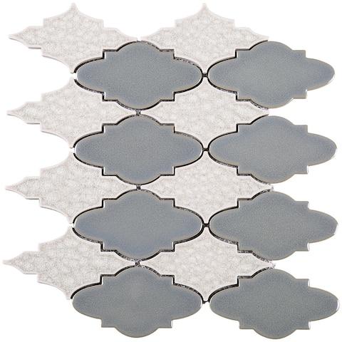 "TileGen. Roman Art Mario Random Sized Ceramic 4"" x 4"" Glass Splitface Tile in Beige Wall Tile (10 sheets/9.6sqft.)"