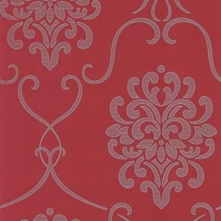 Brewster DL30441 Suzette Red Modern Damask Wallpaper