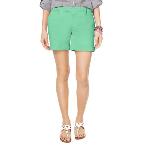Tommy Hilfiger Green Womens 16 Straight-Fit Mid-Rise Casual Shorts