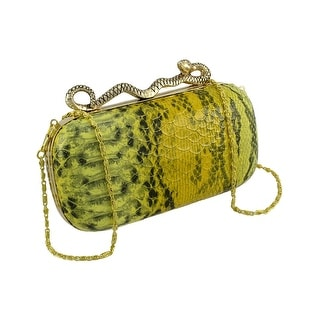 Snakeskin Textured Clutch Evening Bag with Snake Clasp