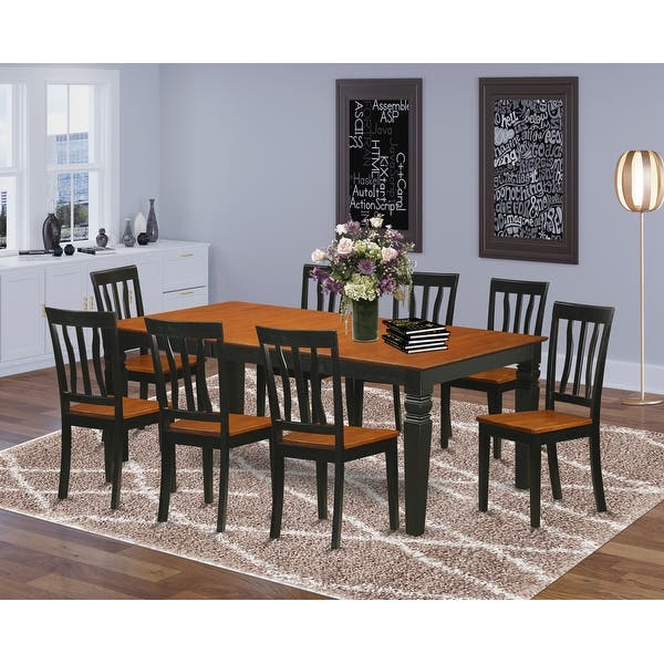 Dining Set Contains Logan Dining Table And 8 Dining Chairs In Black And Cherry Finish Overstock 14366508