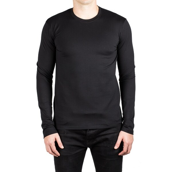9ec883345216 Shop Prada Men's Jersey Cotton Elastane Crew Neck Long Sleeve T-Shirt Black  - Free Shipping Today - Overstock - 14798842