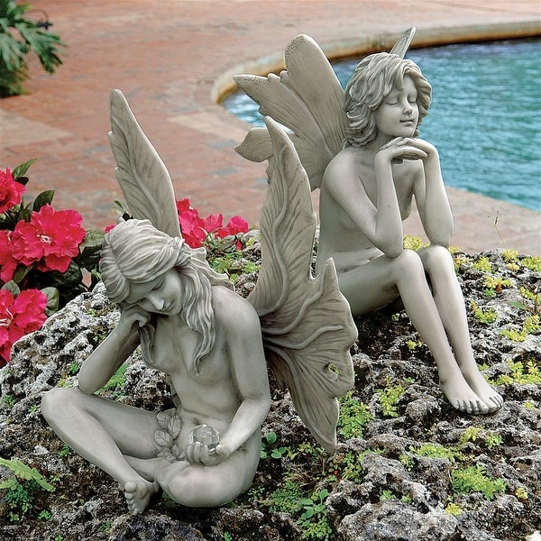 Design Toscano The Secret Garden Fairy Statues: Set of Gazing Fairy and Pondering Fairy