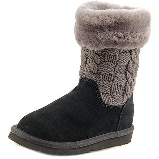 Ugg Australia K Juniper Youth Round Toe Suede Black Winter Boot
