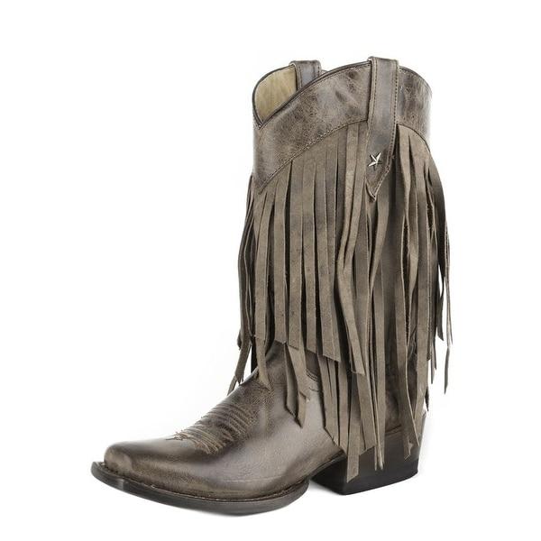 136147a3421 Roper Boots Womens Pull On Square Toe Fringe