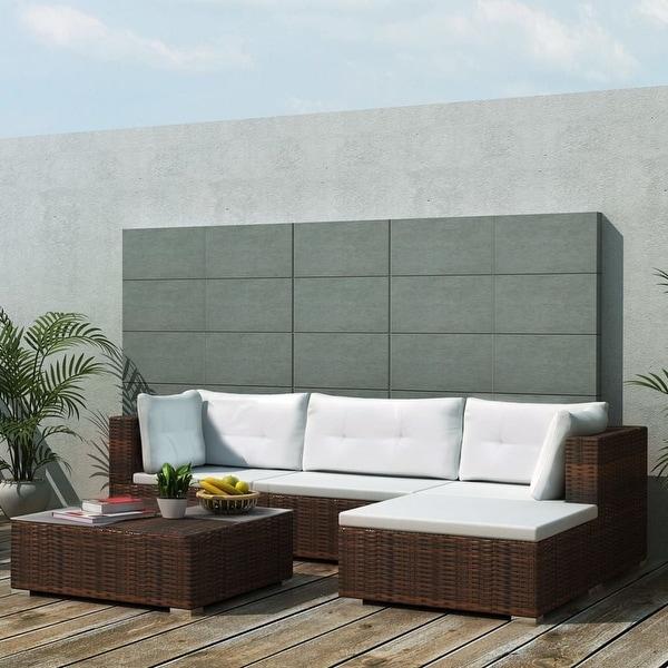 "vidaXL 5 Piece Garden Lounge Set with Cushions Poly Rattan Brown - 28"" x 28"" x 25"""