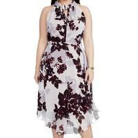 Rachel Rachel Roy Purple Womens 18W Plus Floral-Print Sheath Dress